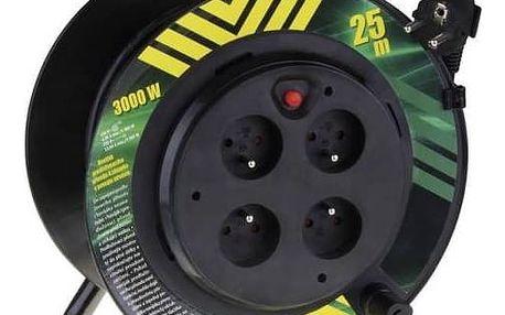 Kabel prodlužovací na bubnu EMOS 4x zásuvka, 25m, pevný střed (1908042510) černý