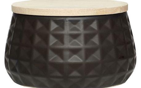 Hübsch Keramická dóza s dřevěným víčkem Black, černá barva, keramika