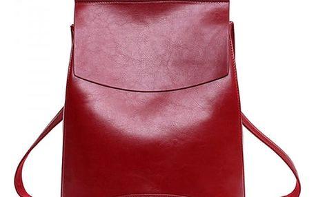 Městský elegantní batoh v imitaci kůže - Červená