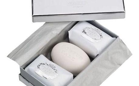 CASTELBEL Dárkové balení mýdel Castelbel White/silver 3x150gr, bílá barva, stříbrná barva