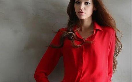 Dámská šifónová košile-červená, velikost 3