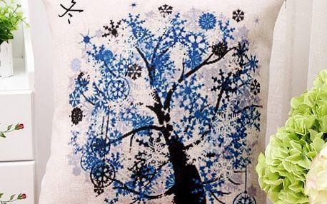 Povlak na polštář se stromy - čtyři roční období - zima - dodání do 2 dnů