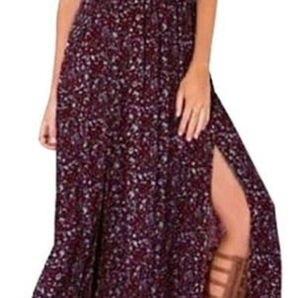 Letní květinové maxi šaty se spadlými rameny - tmavě červená, velikost 2