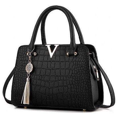Luxusní kabelka imitujíci krokodýlí kůži - Černá