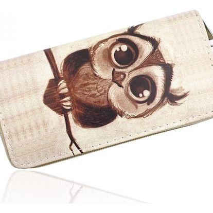 Podlouhlá peněženka s potiskem kreslené sovičky