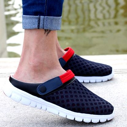 Prodyšné pantofle s páskem - Modrá-39