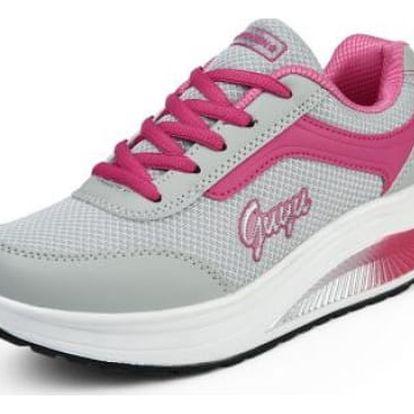 Dámská sportovní obuv s vyšší podrážkou - Tmavě růžová - 36