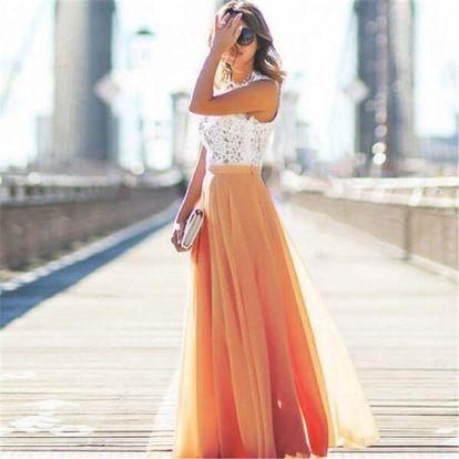 Dlouhá vzdušná sukně do pasu - Červená - velikost č. 2