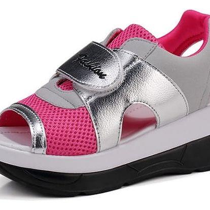 Dámské turistické sandále na suchý zip - Růžová - 22,5 cm (vel. 35 cm)