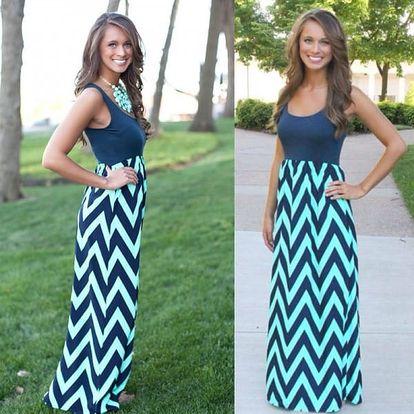 Dlouhé letní šaty s přiléhavým topem - varianta C, velikost č. 2