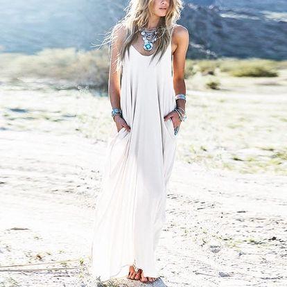 Dámské dlouhé volné šaty - Bílá - velikost č. 1