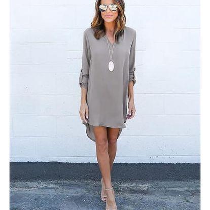 Lehké dámské šaty s dlouhým rukávem - Šedá - velikost č. 3 - dodání do 2 dnů