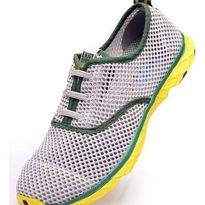 Letní běžecké boty z prodyšné síťoviny - dámské i pánské -šedo-žlutá-28 cm
