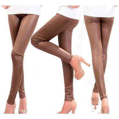 Dámské kalhoty - imitace kůže - hnědá, velikost 2
