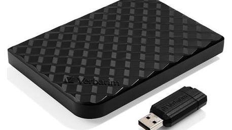 """Externí pevný disk 2,5"""" Verbatim 1,5TB + 16GB USB flash (53218) černý"""