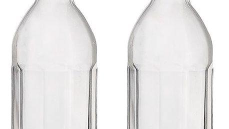 Garden Trading Skleněné lahve s výlevkou - set 2 ks, čirá barva, sklo, kov
