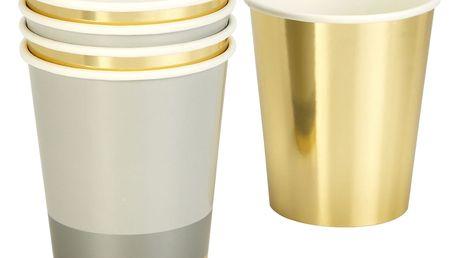 Talking Tables Papírové kelímky Modern Metallics - set 8 ks, šedá barva, zlatá barva, papír