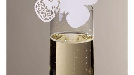 Talking Tables Papírové jmenovky na skleničky Butterfly - set 10 ks, bílá barva, papír