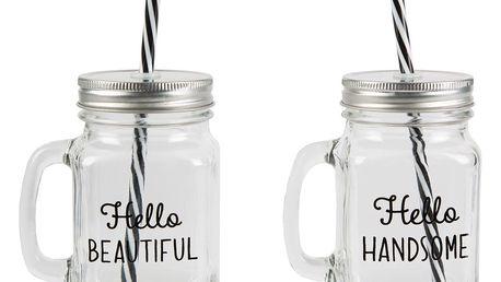 sass & belle Sklenice s víčkem Hello handsome/Hello beautiful Hello handsome, čirá barva, sklo