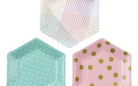 Talking Tables Papírové talířky Party Time - set 12 ks, multi barva, papír