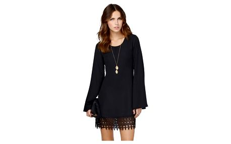 Dámské volné šifonové šaty s krajkou - Černá - velikost č. 2