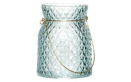 Hübsch Skleněná lucerna Blue/Gold, modrá barva, sklo, kov
