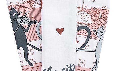Trade Concept Kuchyňská utěrka Kočky ve městě, 50 x 70 cm, sada 3 ks