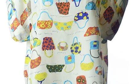 Volné šifonové tričko s veselým vzorem - varianta 3 - kabelky - velikost č. 5 - dodání do 2 dnů