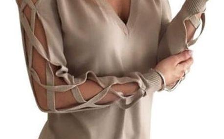 Dlouhé dámské tričko s otevřenými rukávy - Khaki, velikost 2