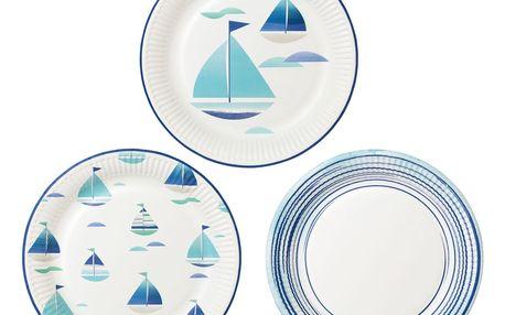 Talking Tables Papírové talířky Boat, modrá barva, bílá barva, papír
