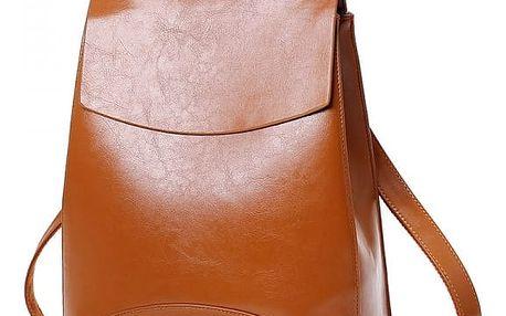 Městský elegantní batoh v imitaci kůže - hnědý - dodání do 2 dnů