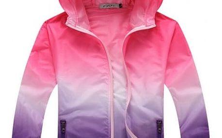 Dámská lehká bunda s barevnými přechody - růžová-velikost č. 5 - dodání do 2 dnů