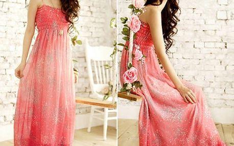 Dámské dlouhé šaty s úzkými ramínky - červená - dodání do 2 dnů