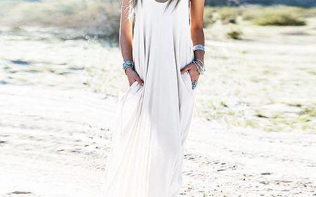 Dámské dlouhé volné šaty - Bílá - velikost č. 1 - dodání do 2 dnů