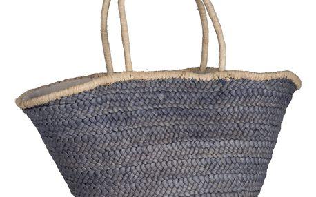 IB LAURSEN Slaměná taška Dusty Blue, modrá barva, béžová barva, proutí