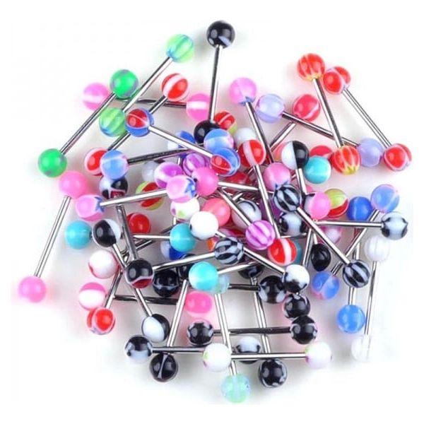 20 různobarevných piercingů