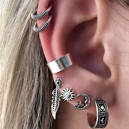 Dámské vintage náušnice na jedno ucho - sada 7 ks