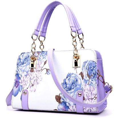 Dámská kabelka s květinovými vzory - Fialová