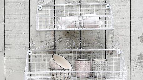 Chic Antique Kovová polička 33 cm, bílá barva, kov