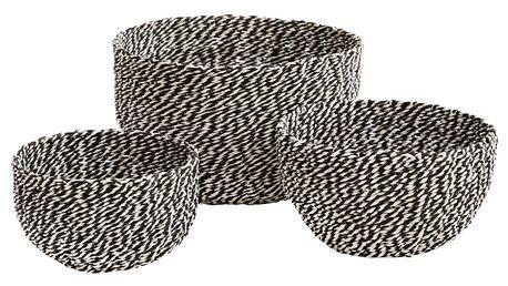 MADAM STOLTZ Košíček s jutovým provázkem Black/white Velikost S, černá barva, bílá barva, papír