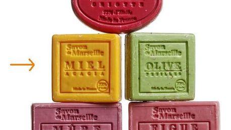 LE CHATELARD Mýdlo Marseille 100 g čtverec - med a mimosa, oranžová barva