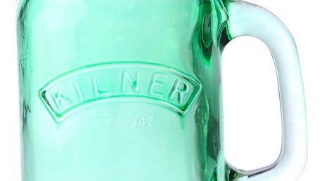 KILNER Sklenice s uchem Green 350 ml, zelená barva, sklo