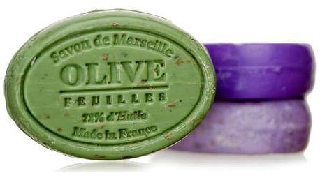 LE CHATELARD Mýdlo s peelingem Marseille 100 g ovál - oliva květ, zelená barva