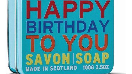 SCOTTISH FINE SOAPS Mýdlo v plechové krabičce - Vše nejlepší, modrá barva