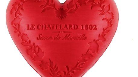LE CHATELARD Mýdlo Heart - červené ovoce 100gr, červená barva