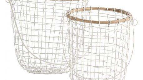 MADAM STOLTZ Úložný košík na zavěšení Wire white Větší, bílá barva, kov
