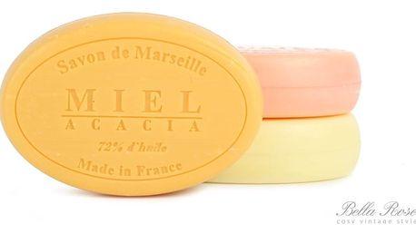 LE CHATELARD Mýdlo Marseille 100 g ovál - med a mimosa, žlutá barva