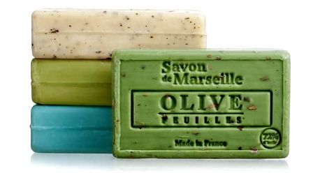 LE CHATELARD Mýdlo s peelingem z Marseille 100 g - oliva květ, zelená barva