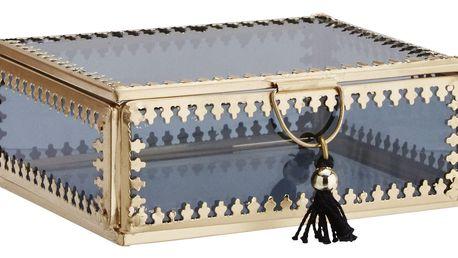 MADAM STOLTZ Skleněná krabička Orient Gold/black - větší, černá barva, zlatá barva, sklo, kov