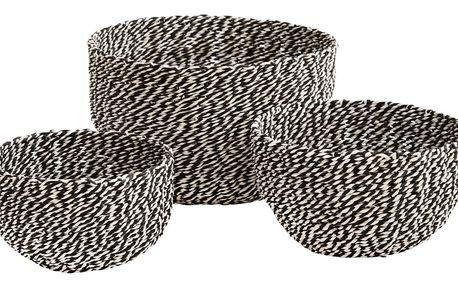 MADAM STOLTZ Košíček s jutovým provázkem Black/white Velikost L, černá barva, bílá barva, papír